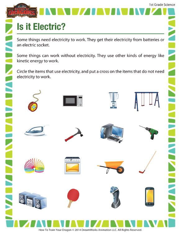 1st grade science worksheets out 'Is it Electric?', our