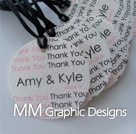 Personalized 1.5inch Thank you Circle Tags by MMGraphicDesigns