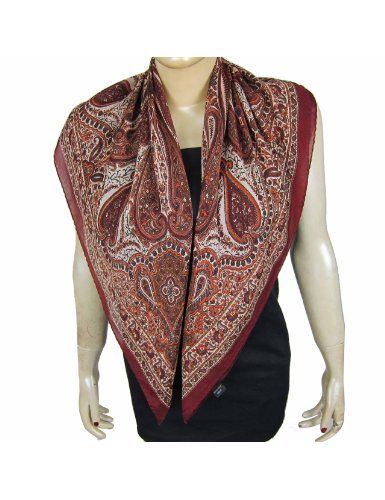 Foulard carré en crêpe de soie rouge motifs du Cachemire 91 x 91 cm  Amazon c6a8d3021da