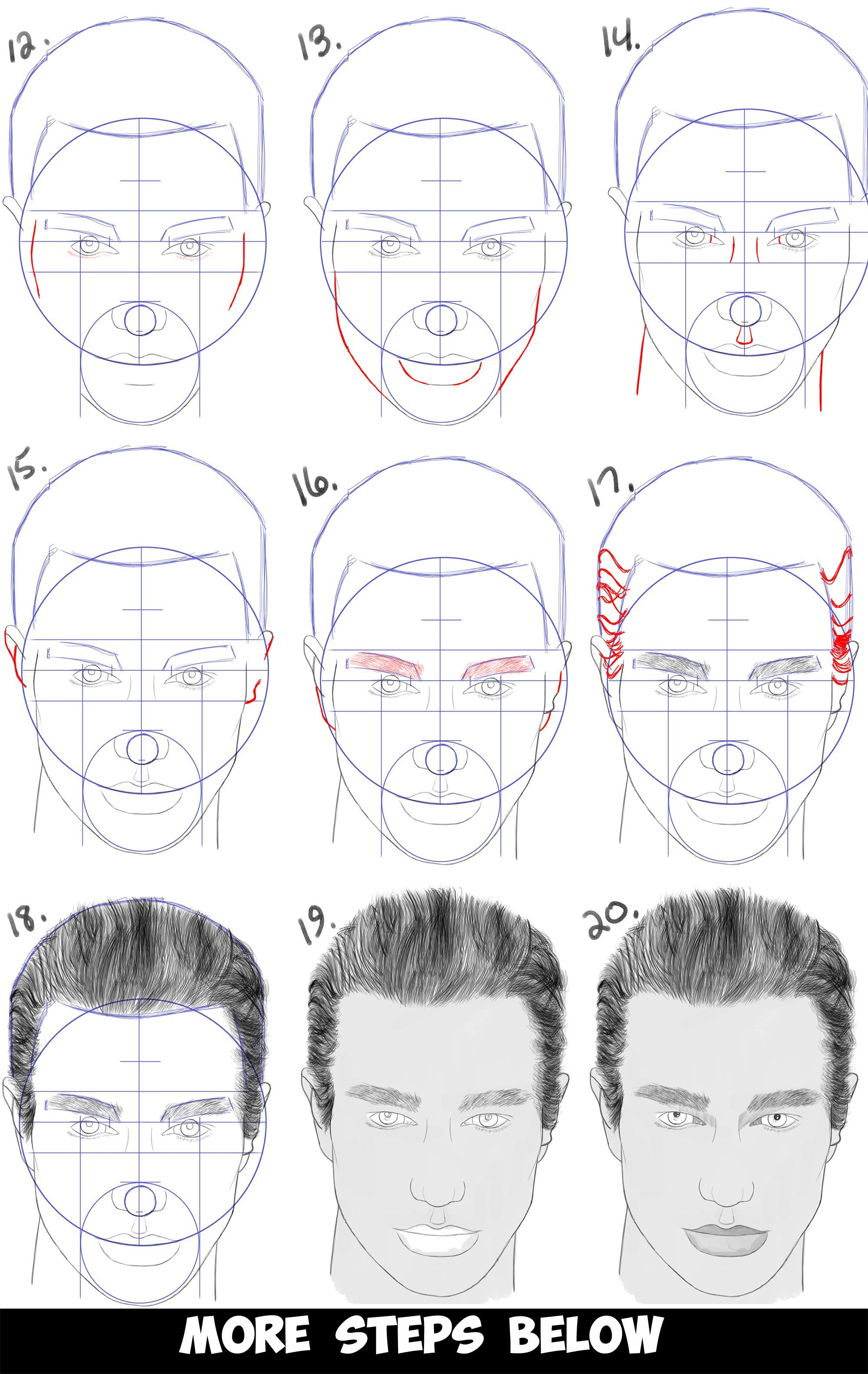 Learn How To Draw A Handsome Man S Face From The Front View Male Simple Steps Drawing Lesson For Beginners Male Face Drawing Tutorial Face Face Drawing