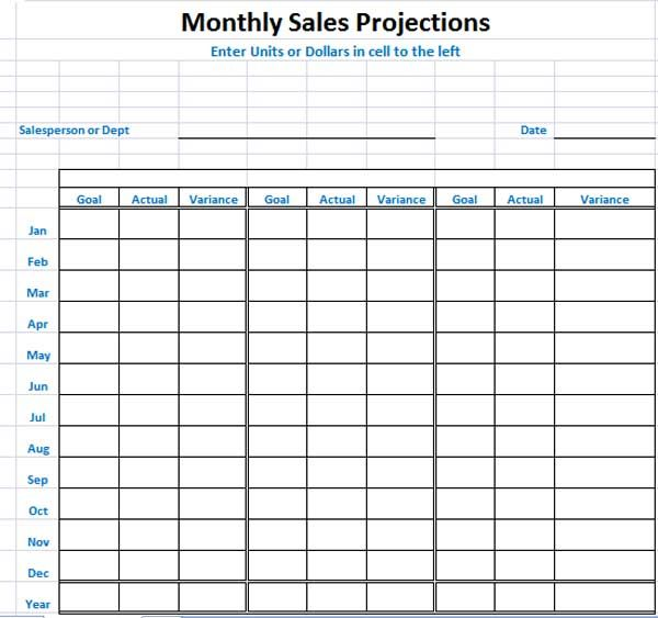 Sales Projection Template consists of entire stuff in readymade - attendance chart template
