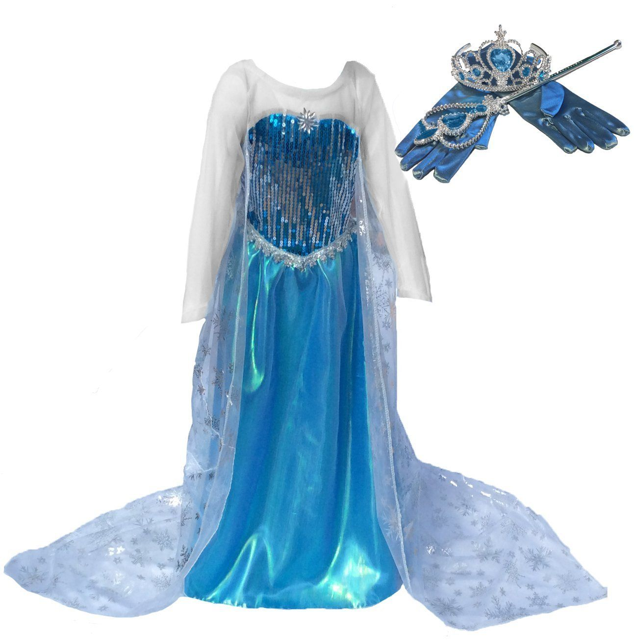 Amazon.com: Ice Princess Long Cape Dress up Set Costume (Ages 11 ...