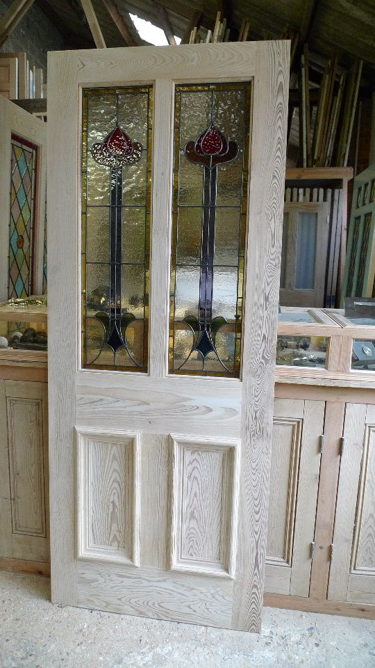 pitch pine front door glazed with art nouveau panels stained glass doors company
