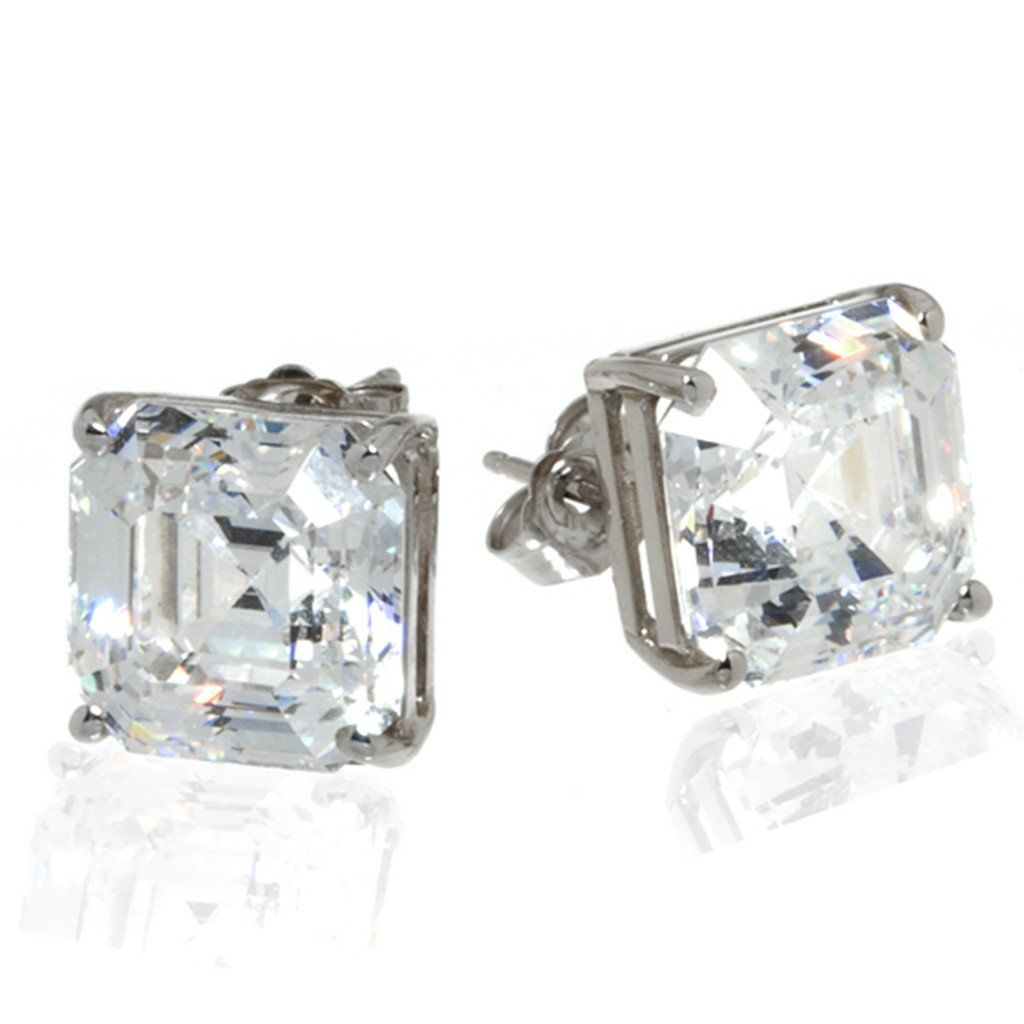 14k White Gold Asscher Cut Stud Earrings Cubic Zirconia Of Exquisite  Quality In A Geometric Asscher