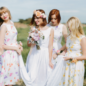 A absolutely darling bridesmaid shoot from Justin Aaron Photography - and they are all in flower print dresses!