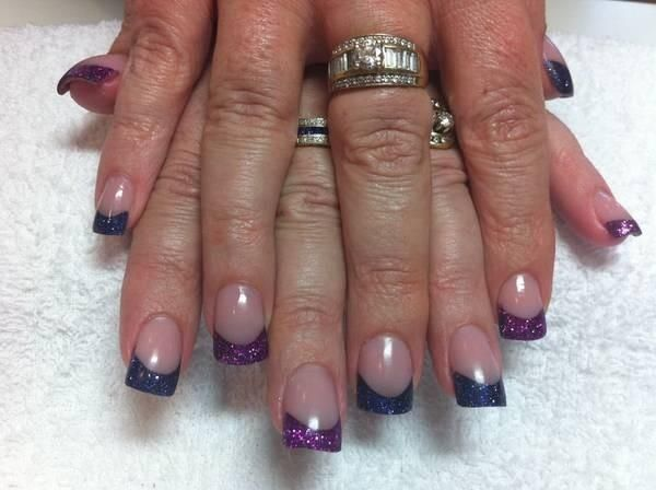 Acrylic Nails With Blue Silver Glitter French Tips