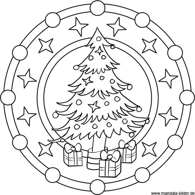 malvorlage oma | Mandala Malvorlage zu Weihnachten - Weihnachtsbaum ...