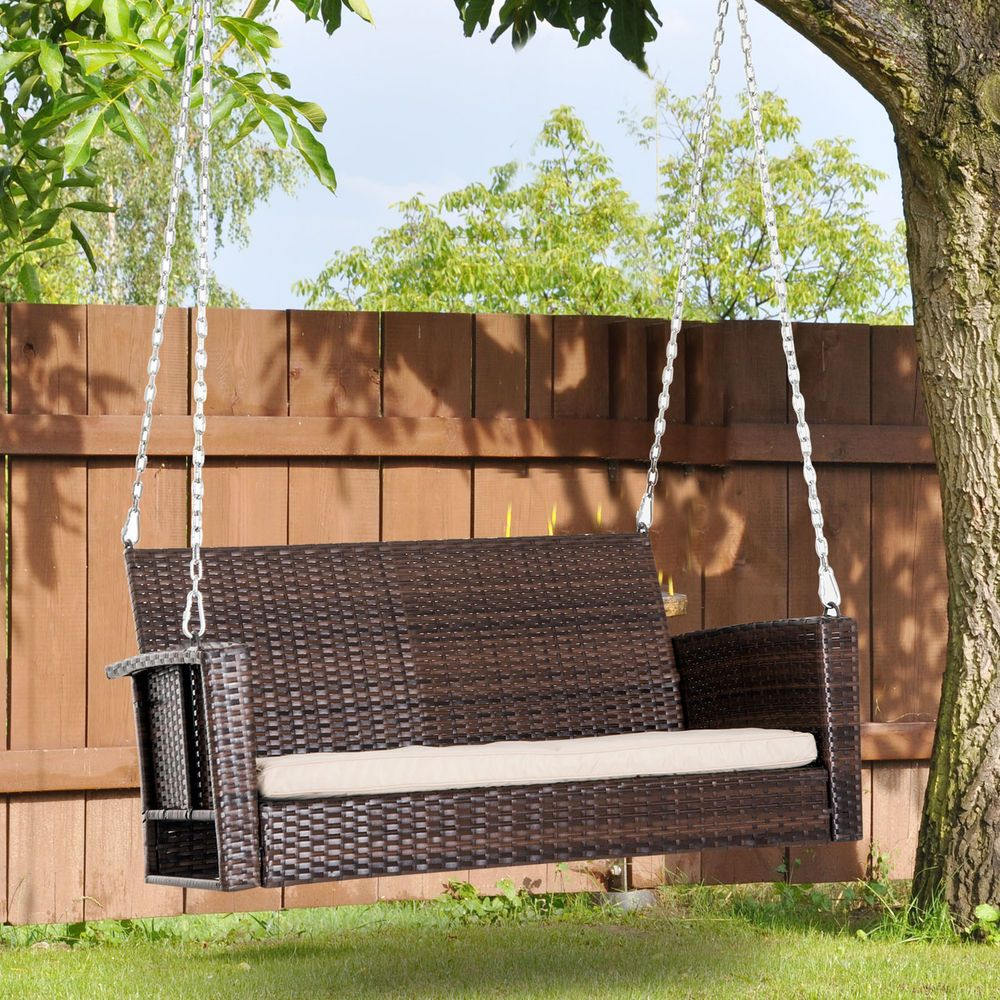 Outsunny person outdoor wicker porch swing chair garden hanging