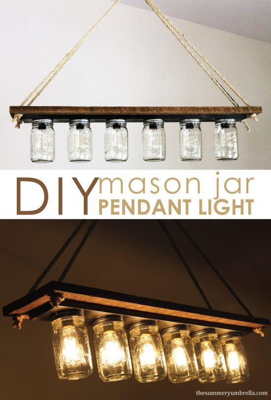 How To Make A Mason Jar Pendant Light Pot Mason Diy Lumiere Suspendue Diy Lumieres En Bocaux