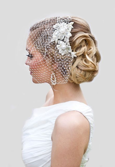 Chic Wavy Updo With A Bridal Lace Headpiece And A Birdcage Veil Veil Hairstyles Lace Headpiece Trendy Wedding Hairstyles