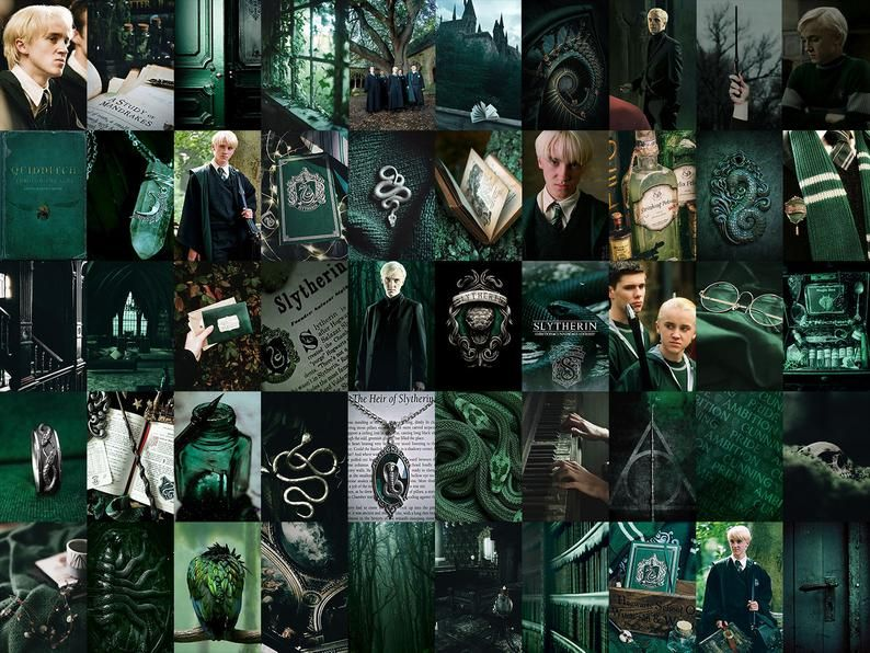 50 Green Clever Wizards Aesthetic Wall Collage Kit Digital Etsy In 2021 Harry Potter Room Decor Slytherin Harry Potter Harry Potter Aesthetic
