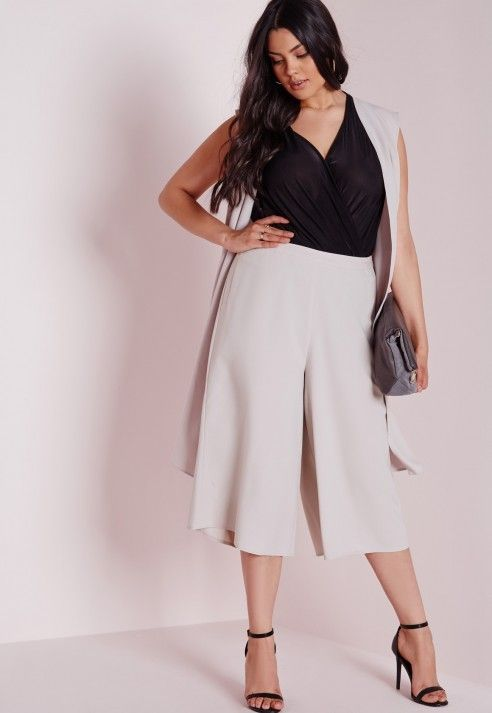 f8a9b04e32d33 Plus Size Culottes Grey. Great work outfit.