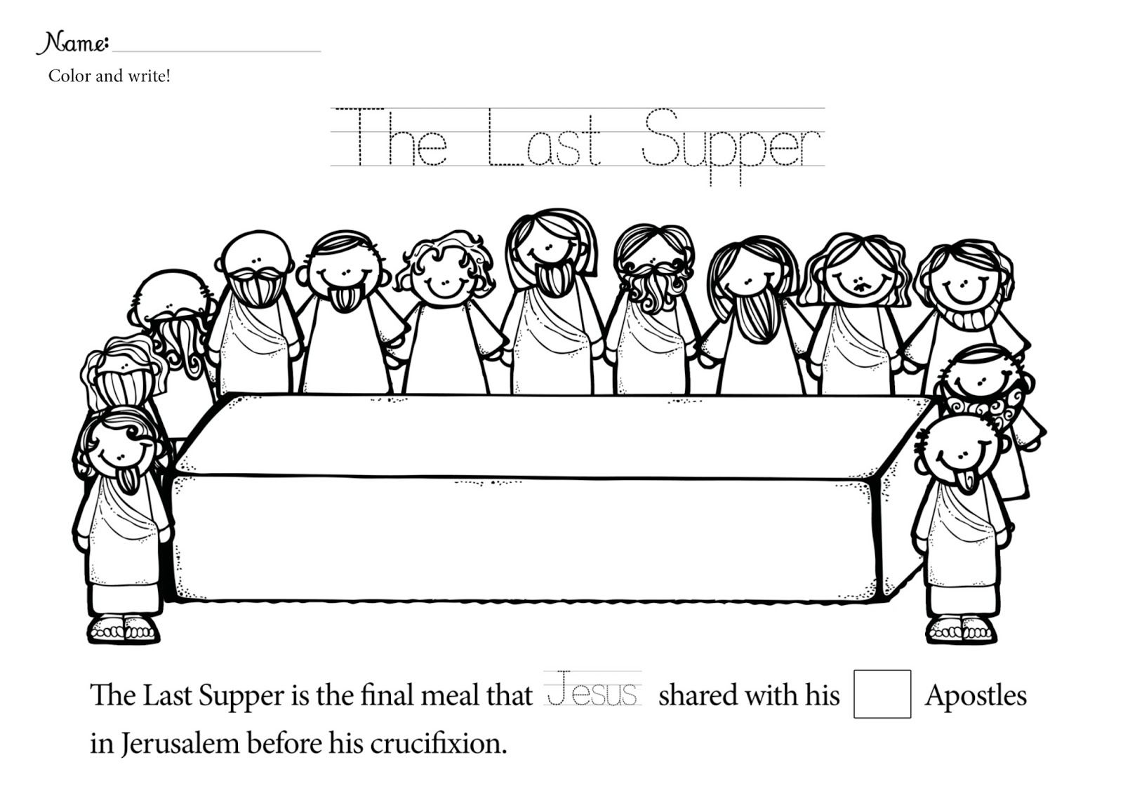 Beautifully Idea The Last Supper Coloring Pages Printable Of Jesus In Page