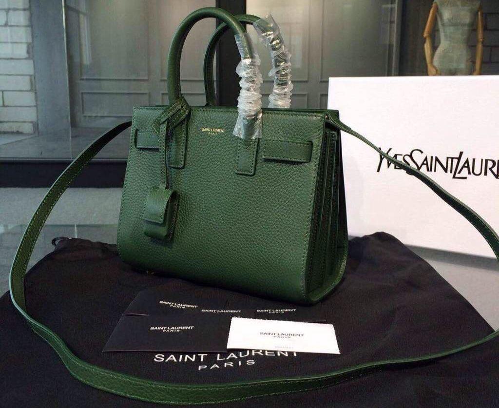 9298972f Saint Laurent Classic Nano SAC DE JOUR Bag in Dark Green Grained ...