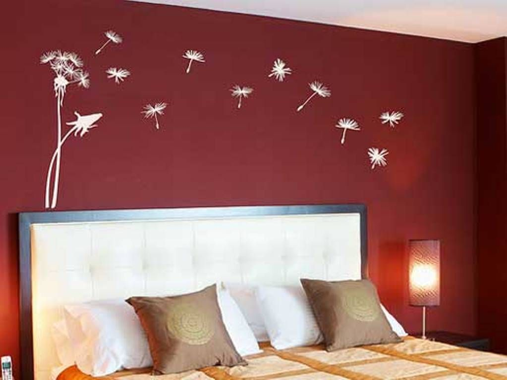 Red bedroom wall painting design ideas wall mural for Bed wall design