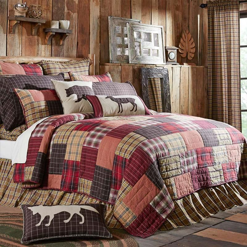 Quilt Sets Wyatt Quilt By Vhc Brands 100 Cotton Crimson Khaki Espresso Latest Bedding Lodge Bedding Rustic Bedroom Rustic Quilts