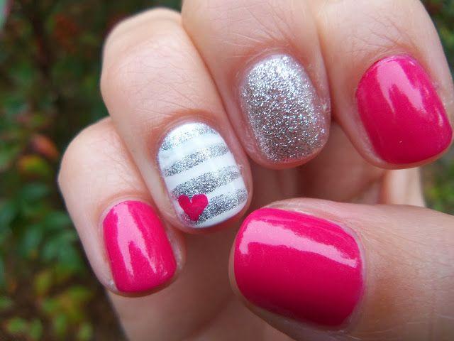 Summer in the Fall. hot pink and silver #nails #nailart