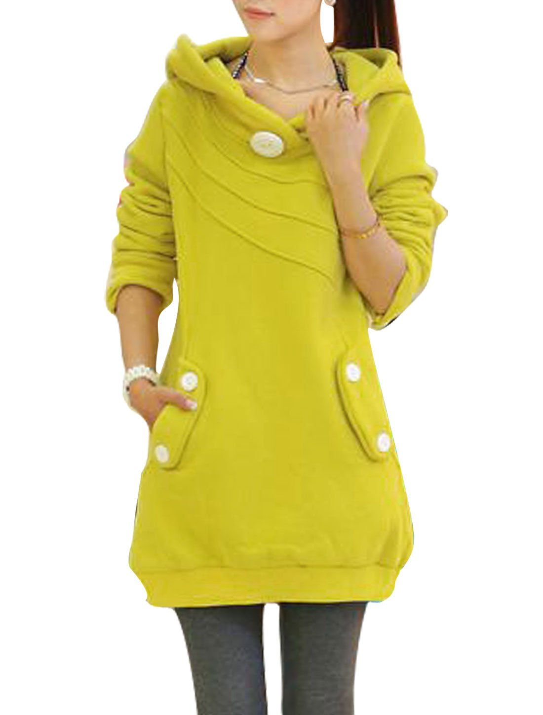 Amazon.com: Women Buttons Double Slant Pockets Ribbed Hem Long Hoodie Yellow M: Clothing