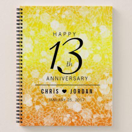 Elegant 13th Citrine Wedding Anniversary Notebook 13 Year