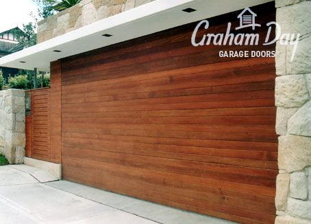 Graham Day Spotted gum timer garage door with lit overhang. & Graham Day Spotted gum timer garage door with lit overhang ...
