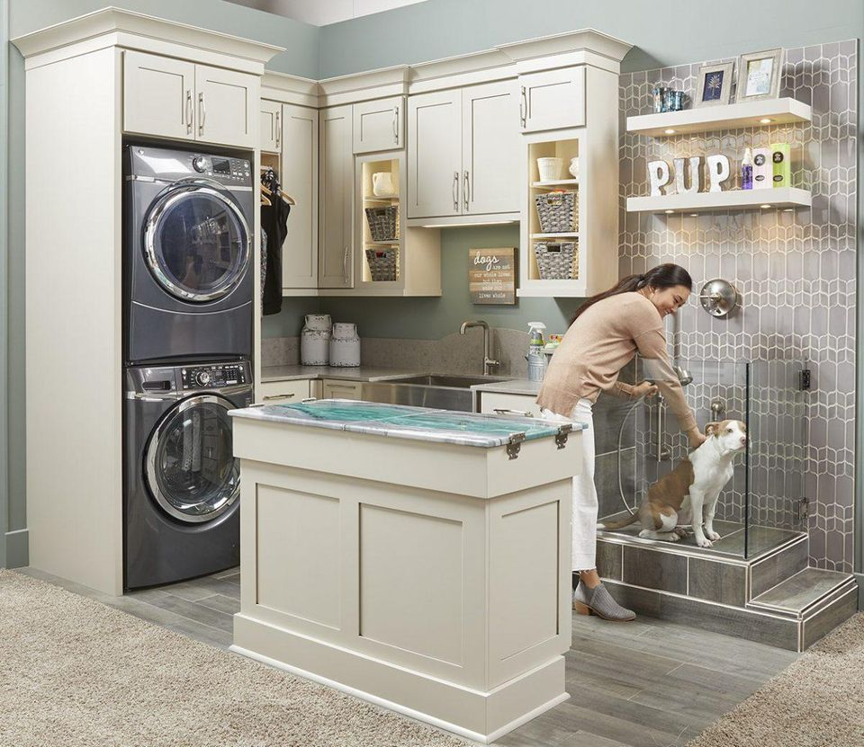 The Modern Laundry Room Is Going Multi Functional With Pet Centers Dog Washing Station Dog Bathroom Wellborn Cabinets