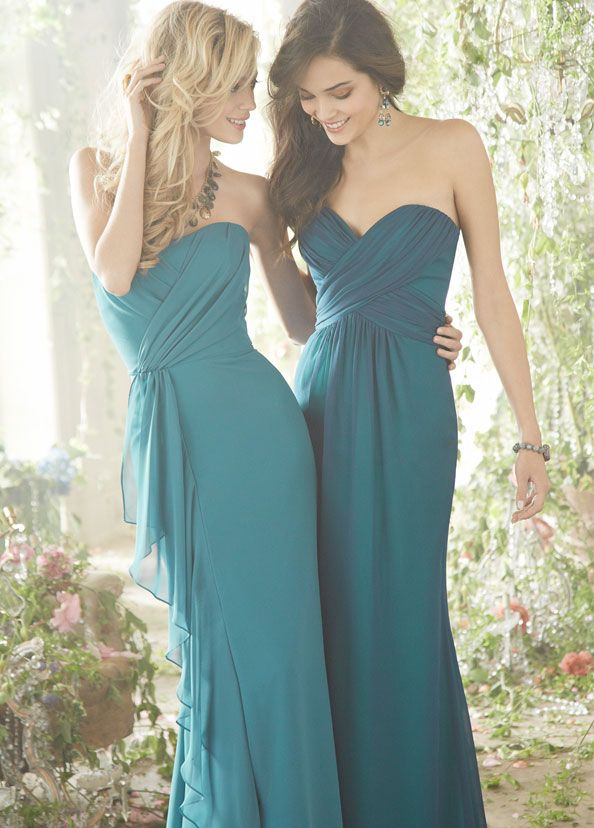Teal Bridesmaids Dresses by Jim Hjelm Occasions | weddee.co | check out our wedding budget and planning app https://itunes.apple.com/us/app/weddee-wedding-budget-planning/id769721884?mt=8