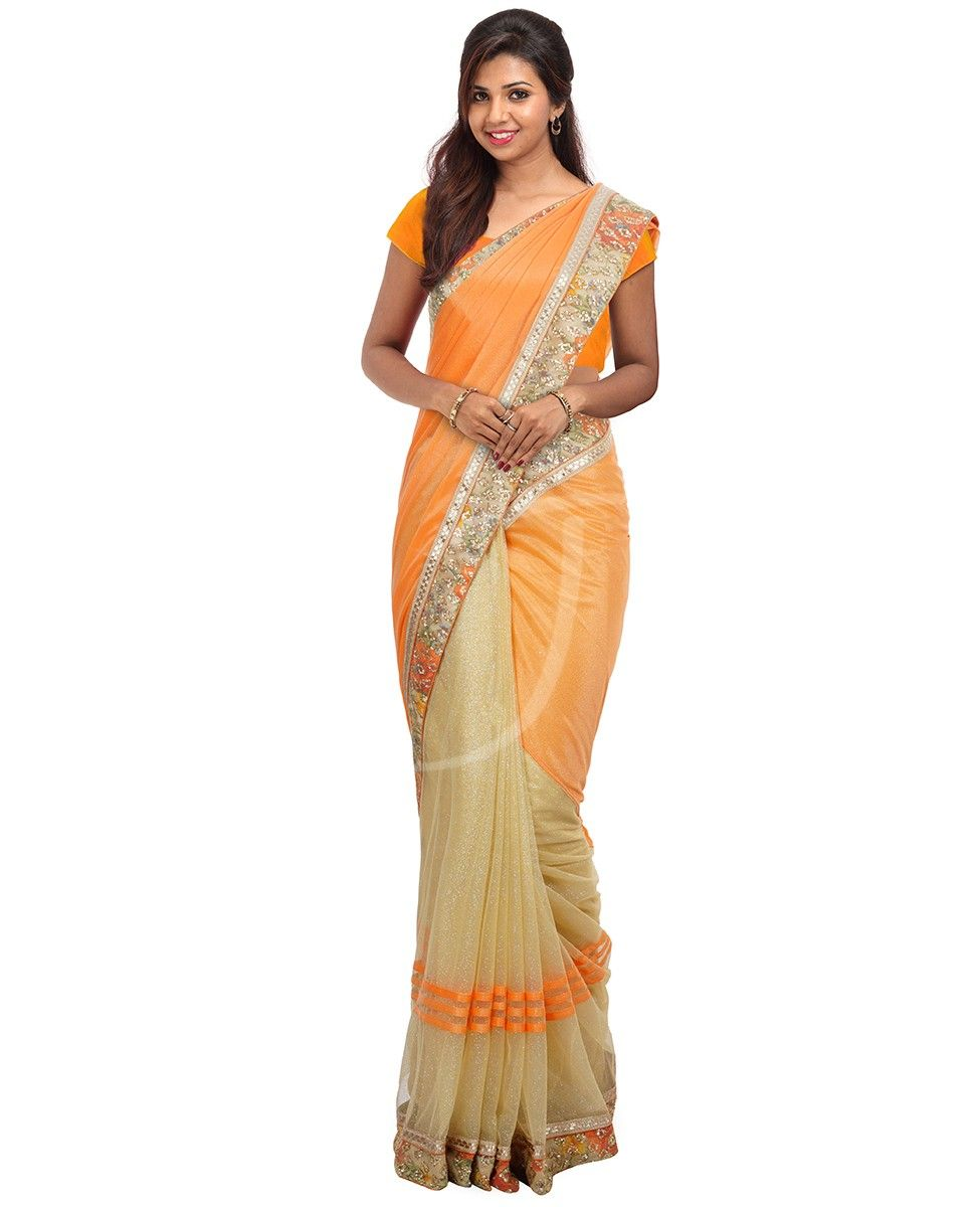 4462d83e2d Light orange color lycra fancy saree   Jayalakshmi   Fancy sarees ...