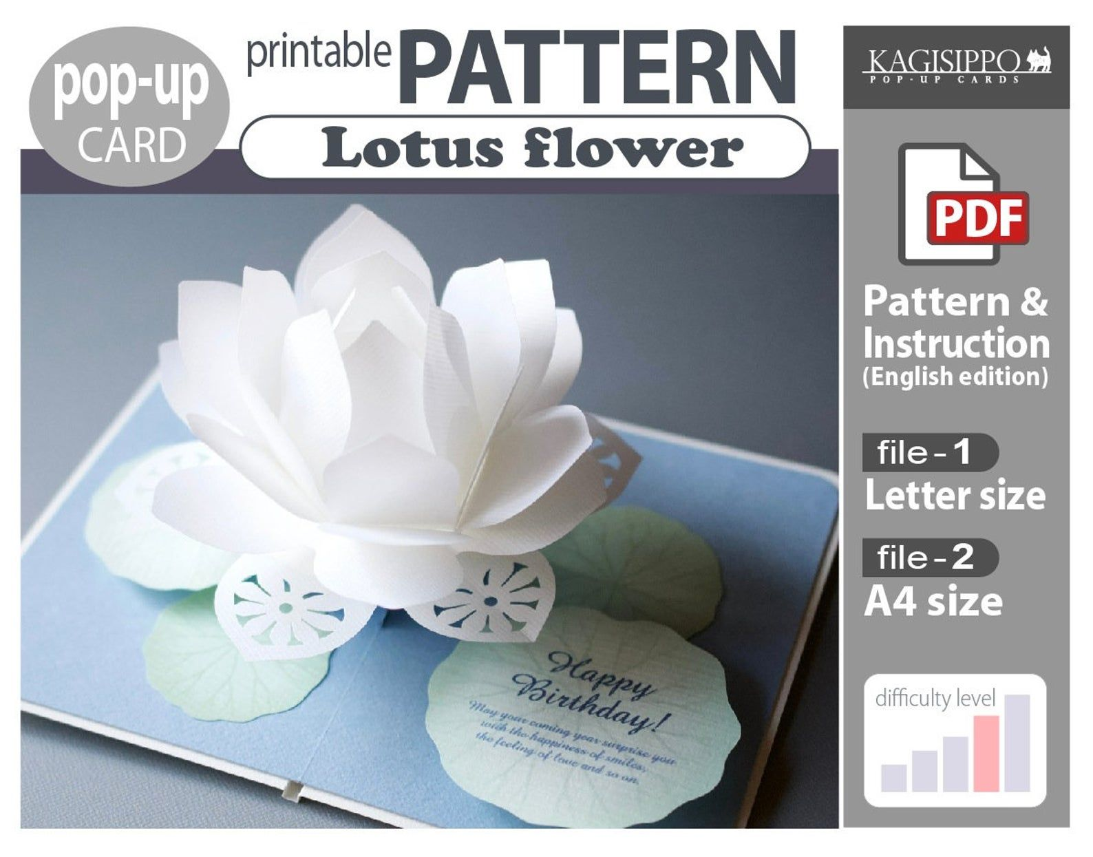 Pattern Pop Up Card Lotus Flower Digital Download File Etsy In 2020 Card Patterns Printable Patterns Cards