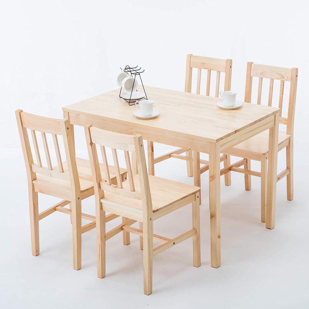 Modern 5 Piece Pine Wood Dining Set Rectangular Restaurant Dining