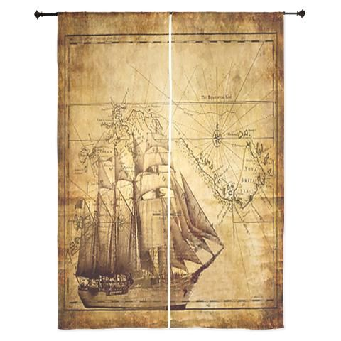 weathered pirate map curtains piraat kaarten piraat slaapkamer oceaankamer piraten feestje piraten
