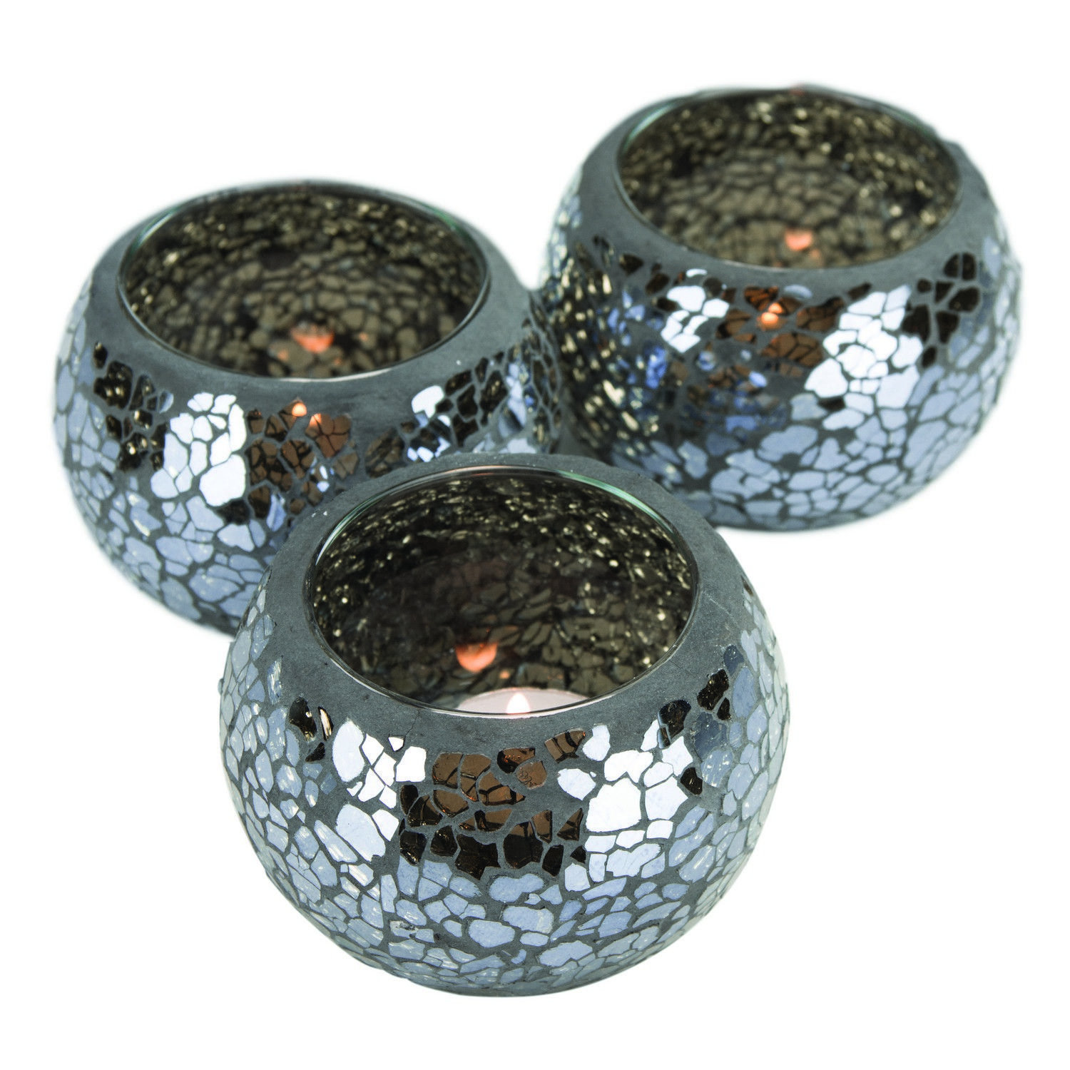 Black Mosaic Tealight Holders (set of 3) Fill with decorative rice/stones for pretty makeup utensil holders
