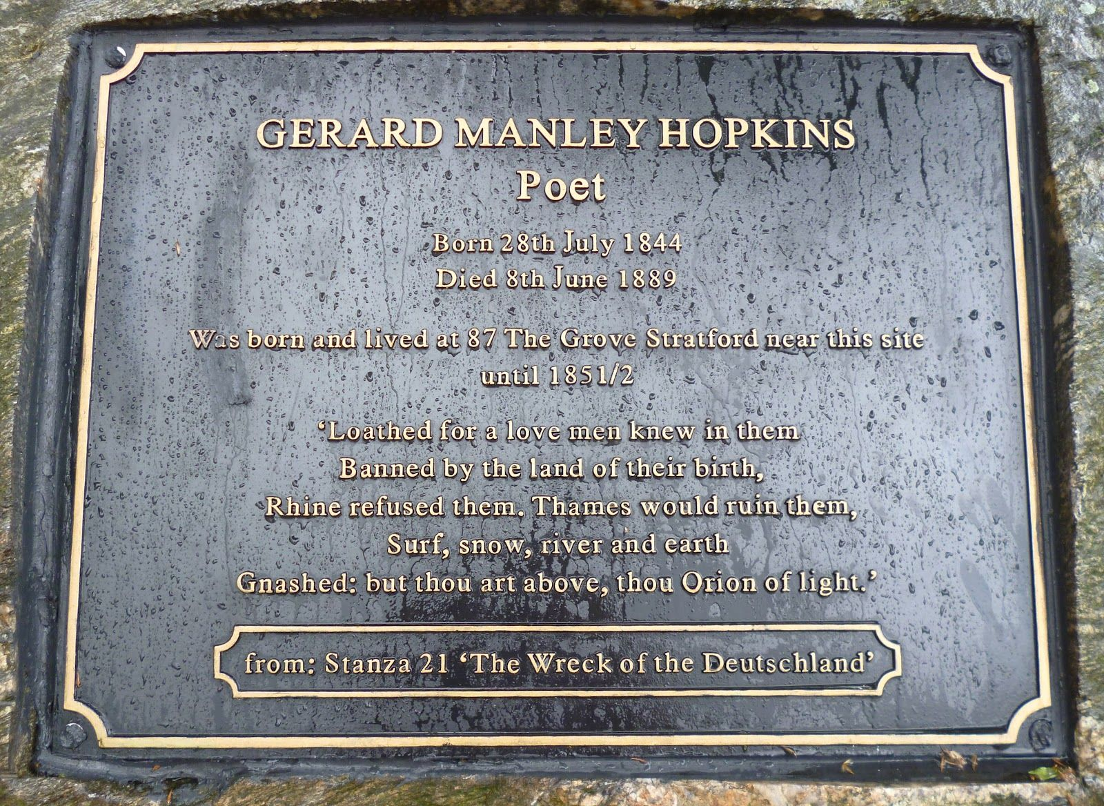 Gerard Manley Hopkins' grave.