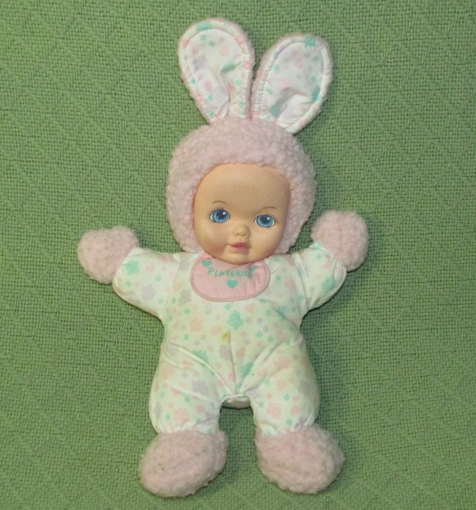 Rare Playskool My Very Soft Baby Pink Bunny Wooly Vintage