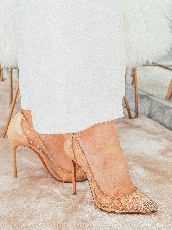 Christian Louboutin Follies Strass Rete Suede Lame 100 Mm Bridal