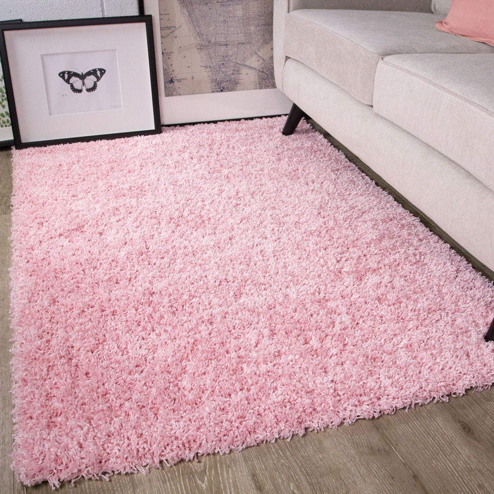 Baby Pink Shaggy Rug Non Shed Thick 50mm Pile Soft Fluffy Bedroom Rug Kids Rugs Einrichten Hausdekoration Hausdekor Sch Fluffy Rug Pink Fluffy Rug Pink Rug