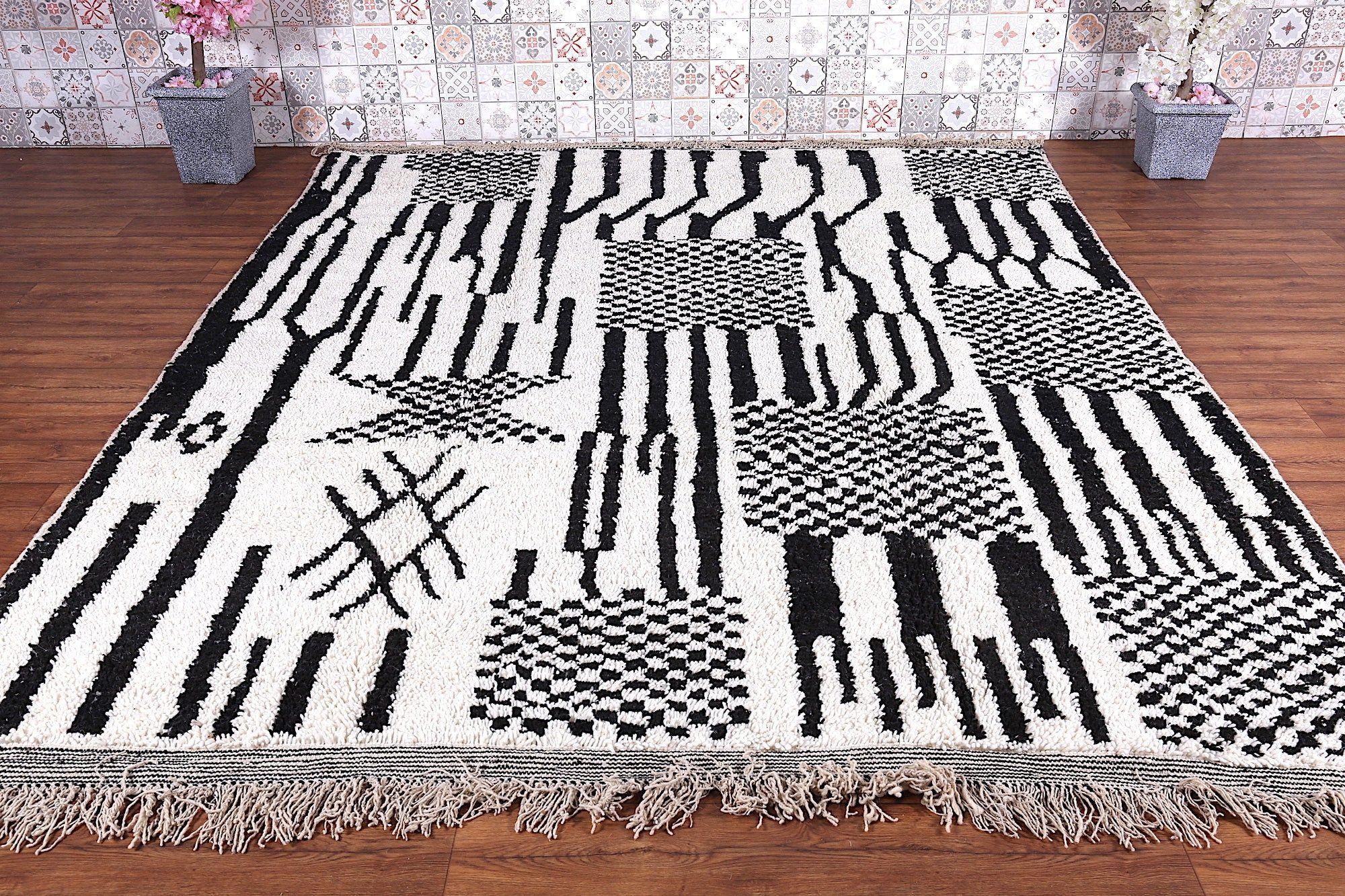 Beni Ourain Rug Black And White Rug 8x9 5 Ft Vintage Berber Rug
