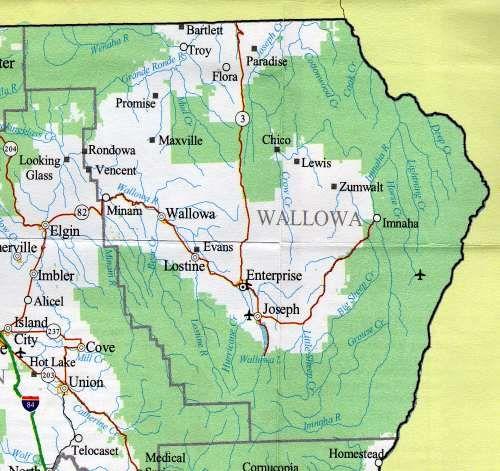 Wallowa Lake State Park Map Map Of The Wallowa County Oregon - Oregon lakes map
