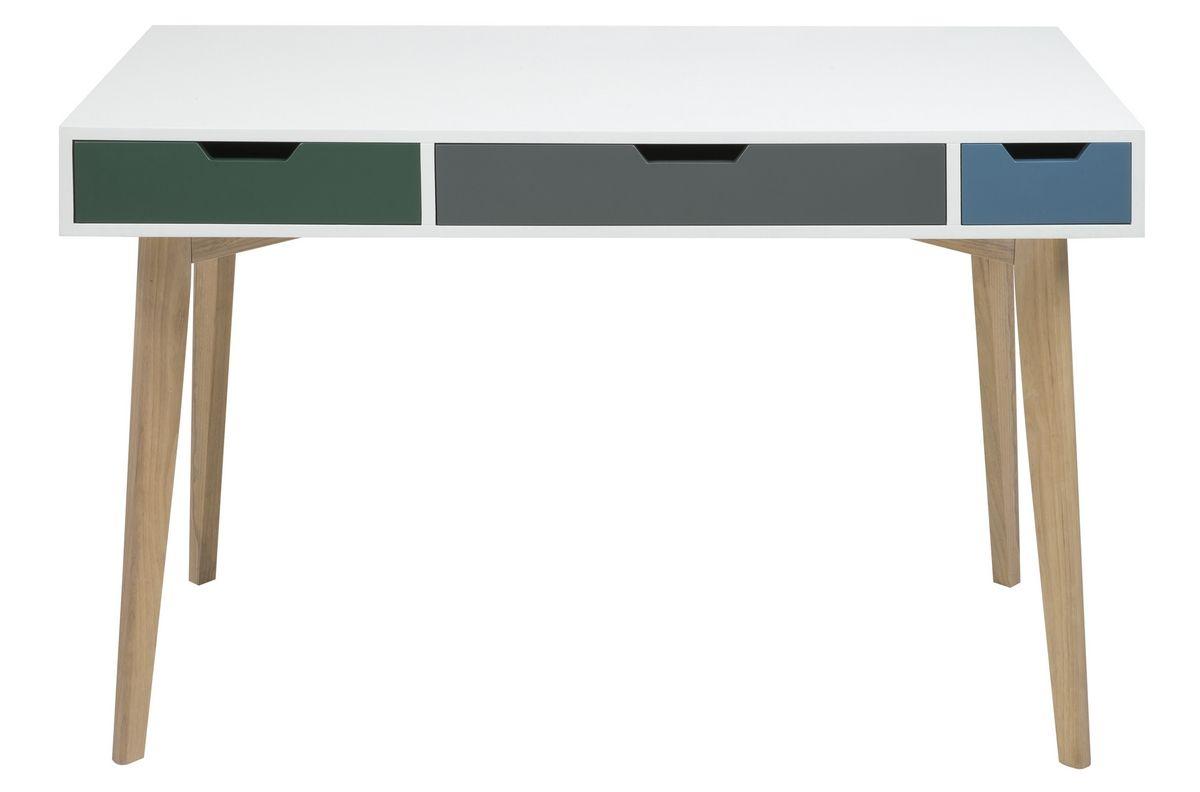 Bureau design en bois laqué blanc de qualité tetra deco bureau
