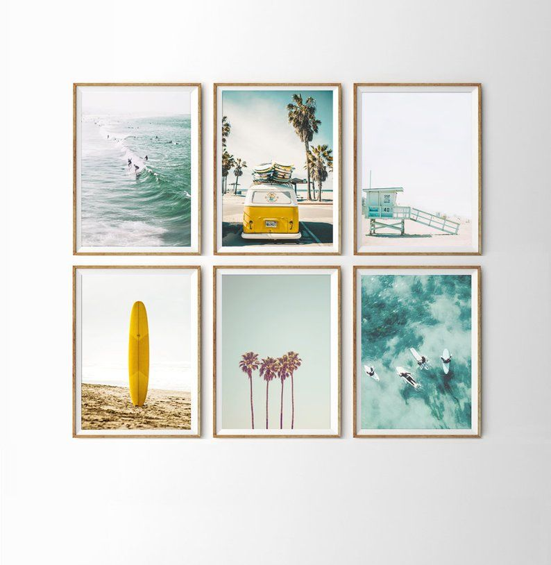 Palm Tree Wall Poster City Tram Canvas Painting Prints Sea Ocean Picture Decals