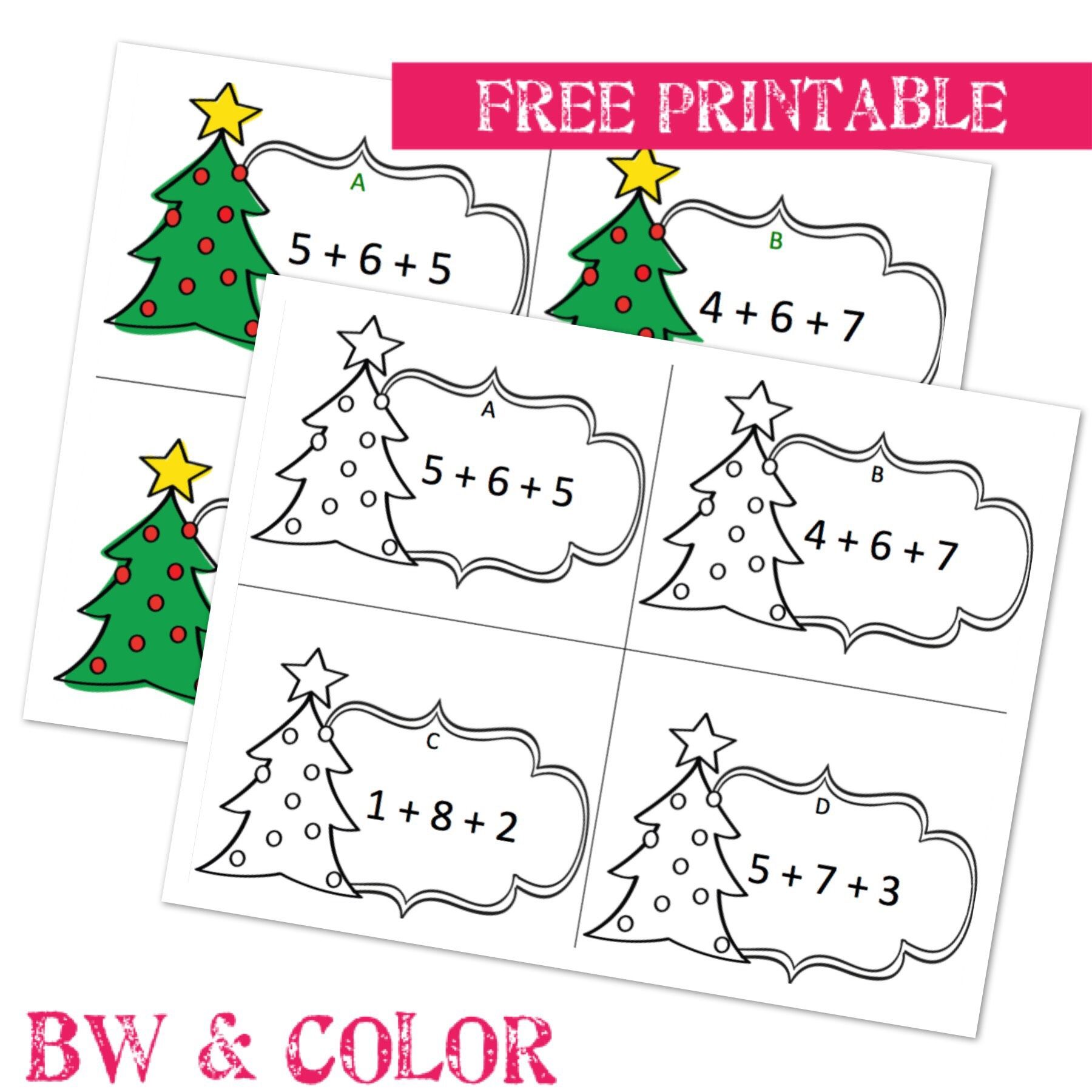 Free Christmas Addition Number Strings