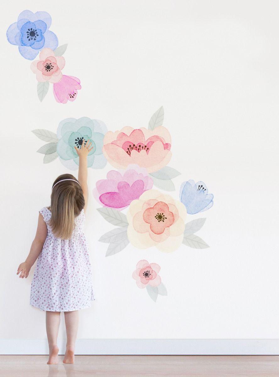 Kids Watercolor Flower Wall Sticker In 2020 Girls Flower Bedroom