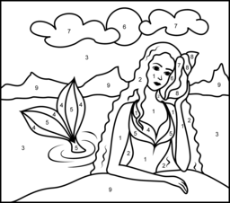 Mermaid Color By Number Coloring Page Mermaid Coloring Pages Mermaid Coloring Book Princess Coloring Pages
