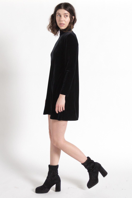 Vintage s black velvet long sleeve turtleneck dress sm i n