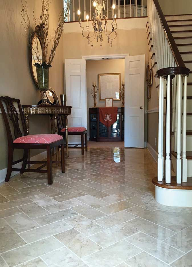 Stunning entryway with crema cappuccino polished 6x12 tile for Tile for entry foyer