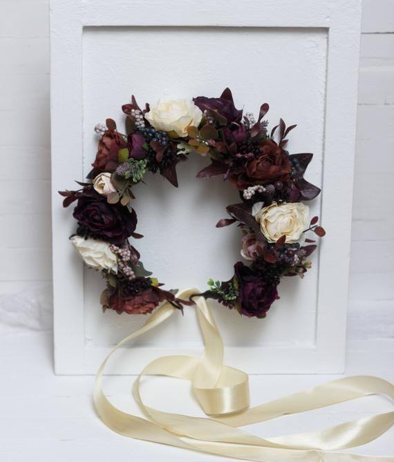 Fall Wedding Hairstyles With Flower Crown: Dark Purple Brown Ivory Flower Crown Fall Wedding Floral