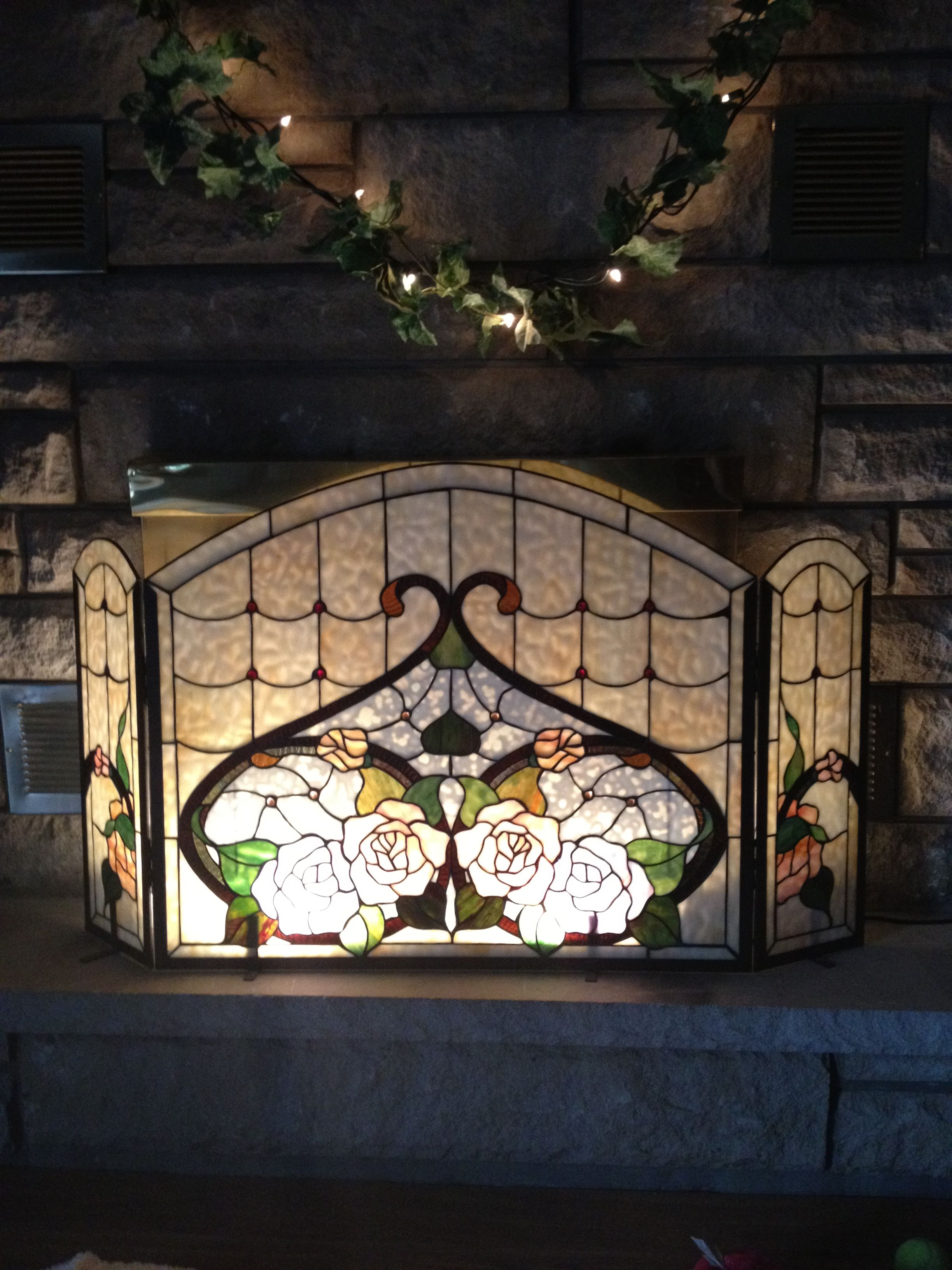 stained glass fireplace screen so elegant small stained glass