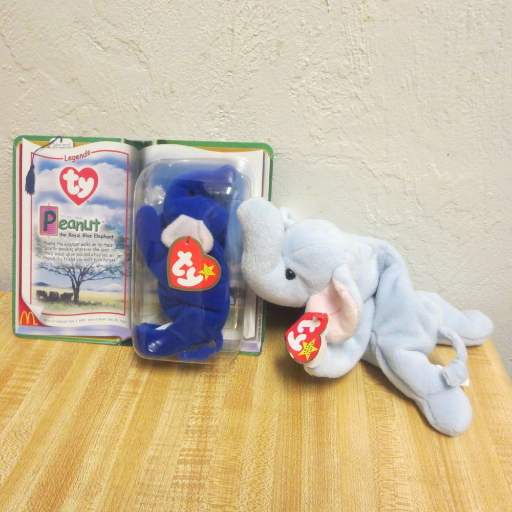 Ty Teenie Beanie Babies PEANUT Royal Blue Elephant McDonald s Legends Plus  Other  Ty 24ab7e8213f
