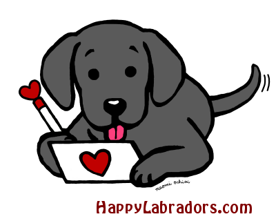 Black Labrador Writing Love Letter Cartoon Happy Labradors Labrador Dog Labrador Puppy Cartoon Dog