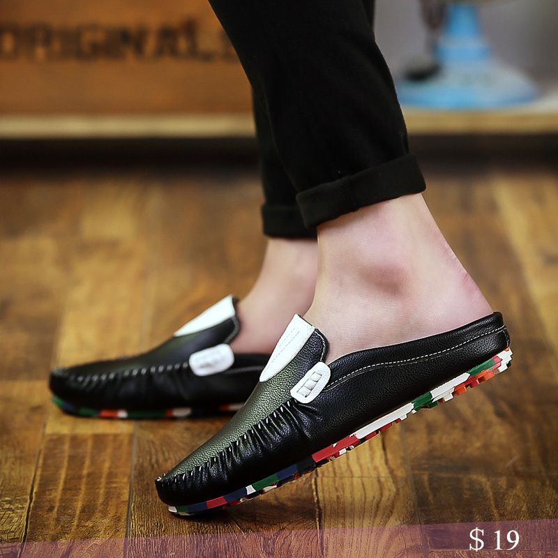Summer Mens Sandals Flats Dress Shoes Backless Hollow out Pull on Casual Shoes