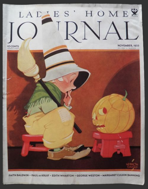 1933 Ladies Home Journal Cover ~ Halloween Kid With Pumpkin   Cover by Vernon Grant